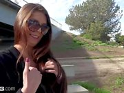 Olivia Lua teen amateur flashes her pussy in public