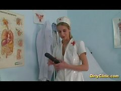 sexy cute Nurse loves dildo and cock for a real orgasm