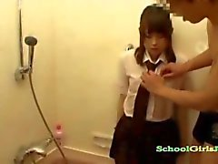 Schoolgirl In Uniform Getting Her Nipples And Hairy Pussy Stimulated With Vibrator In The Bathtube