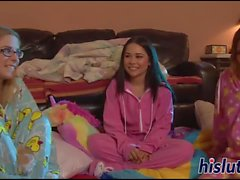 Tearing her pajamas to make place