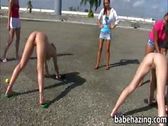 Naked girls played human croquet then eat pussies