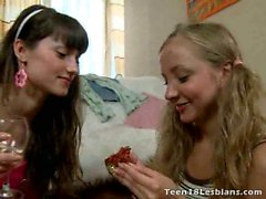 Slim sexy teen lesbians Bonny And Alice drinking champagne
