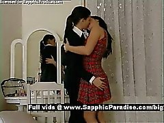 Ella and Daphne tender brunette lesbos kissing