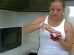 Fat Chubby Teen with nice Tits playing with cherries