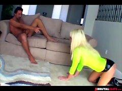Slut blonde completely ravaged in threesome