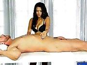 Teen masseuse Josey Jagger sucks off under the table