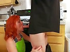 Redheaded milf has her hairy pussy fucked on