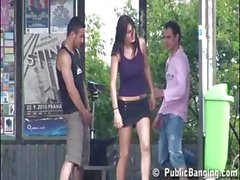 EXTREME PUBLIC threesome with YOUNG BUSTY TEEN girl Part 1