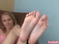 Blonde Teen Jenna Marie Gives First Footjob for FuckedFeet!