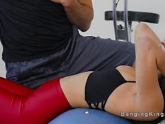 Petite Latina deep throats trainers huge cock