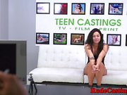Teen beauty facialized at brutal casting
