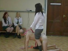 Trio of dominatrix schoolgirls ride a dude