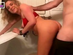 blonde milf fucked in the bathroom