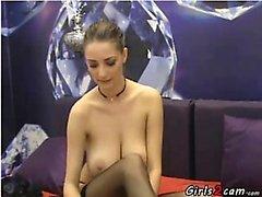 Slim brunette shows her bigtis