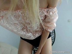 Perfect Shaved Chick Plays With Her Hot Body