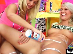 Blonde lesbian teens use a toy
