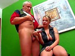Older German guy gets handjob from blonde