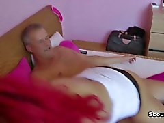 German Redhair Whore get fucked with Old Man for Money
