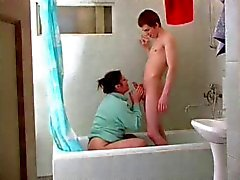 Mature Lady Finds Boy in Shower
