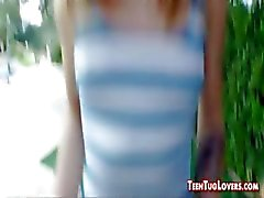 Pretty Petite Teenie Gives An Outdoor Handjob