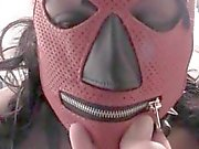 Masked choco teen humiliated in her own piss