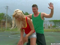 Sporty young blonde Bridgette enjoys playing with young stud