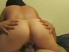 Amateur brunette devours this hard dick