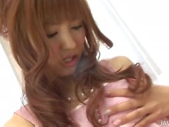 Japanese cum slut Kotone Aisaki has a face blasted with hot man juice