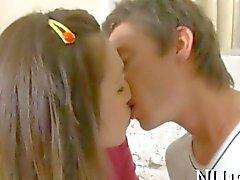 Skinny Russian schoolgirl hammered in bed