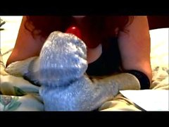 Hot Young Redhead Maddie Performs Hand Job On Dildo With Socks on Hands