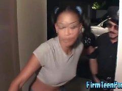 Ebony teen fucks the police officer