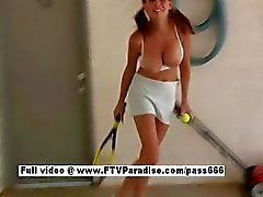 Independent Busty naked girl playing tennis
