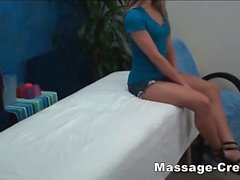 Teen blonde riding hard the masseur