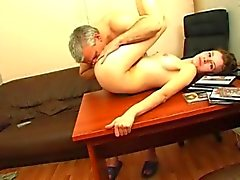 Brunette has wild sex with gray haired mature man
