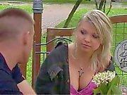 Blonde Polish teen babe and three cock