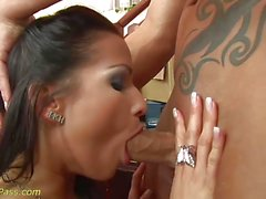 Stunning babe throat fucks this hard dick