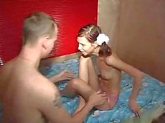 Skinny teen in pigtails takes hard cock