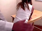 Teen schoolgirl gets her round ass spanked