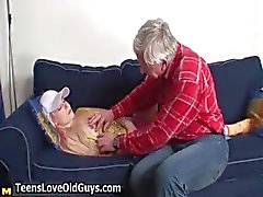Horny grandpa wakes up a teen girl