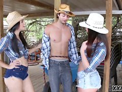 Three hot cowgirls need a cock