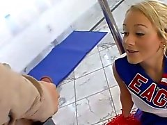 Blonde cheerleader licked and fucked