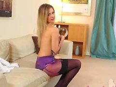 Sweet little girl in purple panties