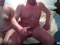 Horny fat couple have a kinky fuck session on webcam