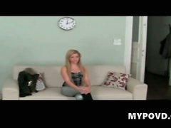 Blonde teen at audition for job in porn movie