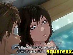 Teen Midori takes a bath then a big dick