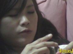 Japanese teen toying muff