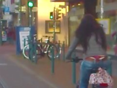 string red on bicycle
