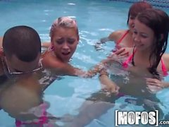 Mofos - Four sexy teens have some fun in the pool