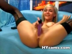 Busty blonde teen tries her new dildo on Webcam