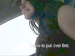 Brunette beauty teen Anna nailed and jizzed on a car hood